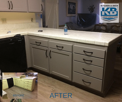 Kitchen and Bath Transformations - Cabinet Refacing in Lake Forrest, CA - Grey Shaker Cabinet Doors and Drawers